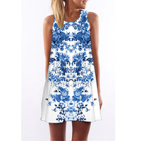 Women Digital Print Casual Sleeveless Round Neck Chiffon Summer Dress