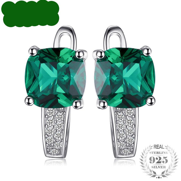 Green Emerald Clip On Earrings 925 Sterling Silver