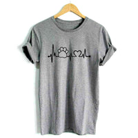 Paw Heartbeat Lifeline dog cat Ladies Girls Tee