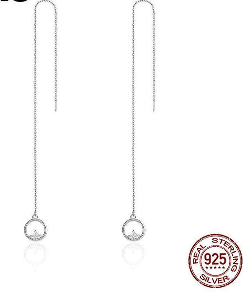 Long Drop Earrings 925 Sterling Silver For Women