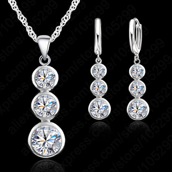 Crystal Silver Jewelry Sets (Necklace/Pendant/Earrings)