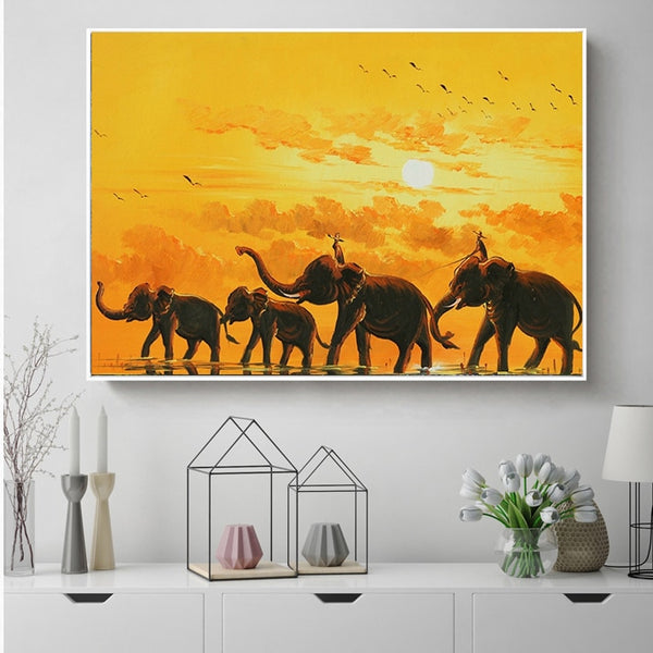 Wall Art - Elephants in the Sunset