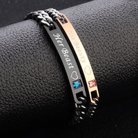 His Queen Her King Black Rose Gold Couple Bracelets