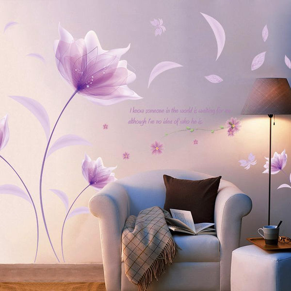 Romantic Purple flowers Wallpaper decoration