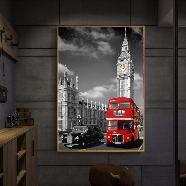 Wall Art - London Streets Black and White Background