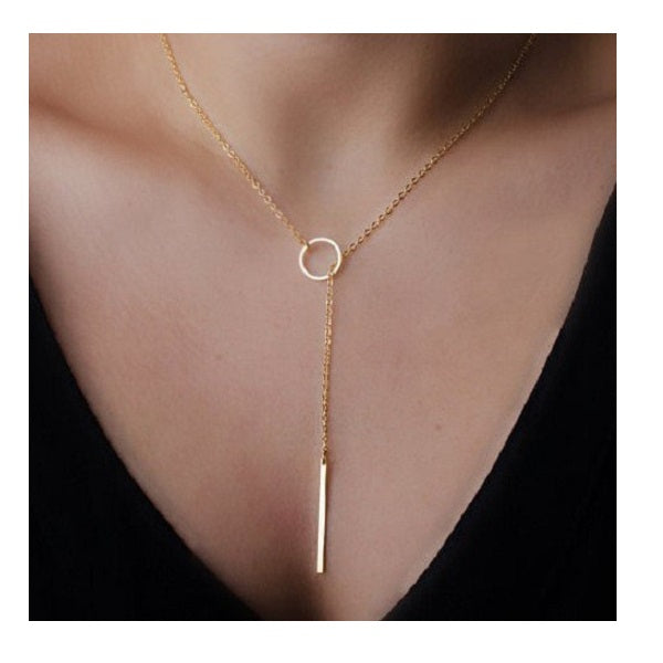 Chic Lariat Bar Circle Chain Necklace