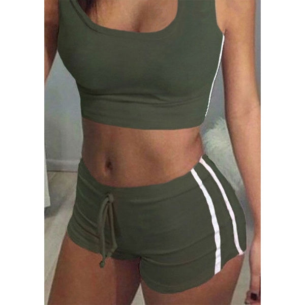 Cropped Cotton Blend 2 Piece Tops Shorts Set