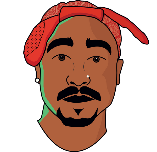2Pac Bold Illustration T-shirt