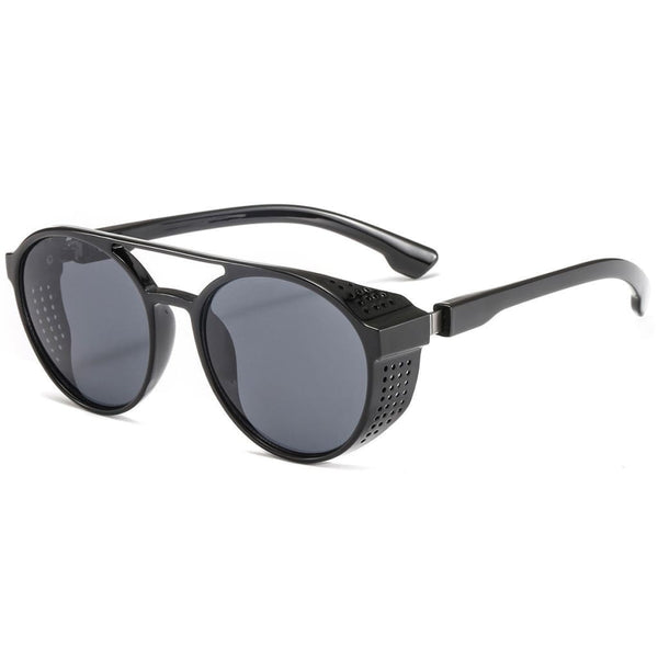 Aviator Round Steampunk Style Sunglasses - Black - Havana86
