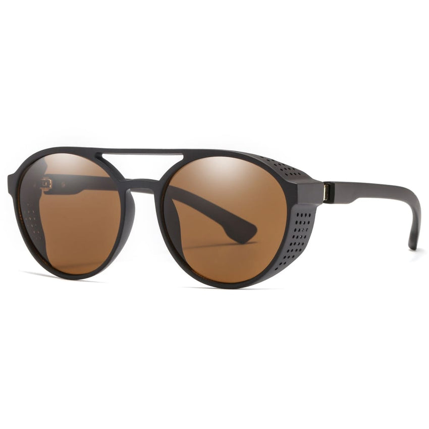 Aviator Round Steampunk Style Sunglasses - Brown - Havana86