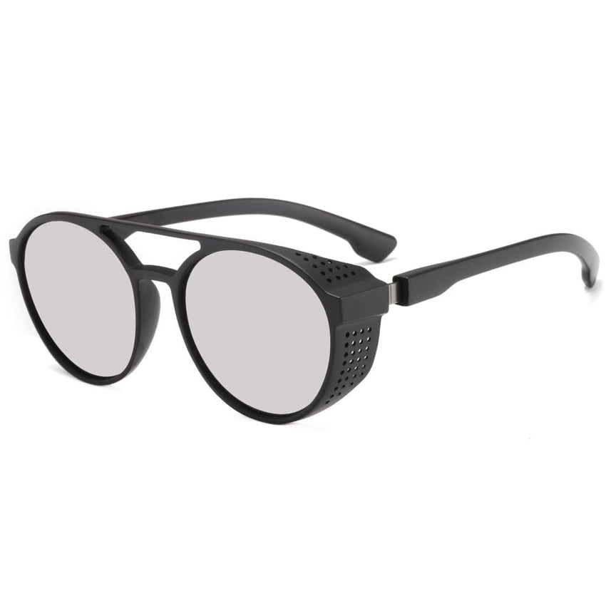 Aviator Round Steampunk Style Sunglasses - Grey - Havana86