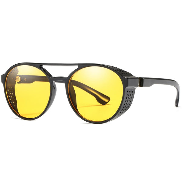 Aviator Round Steampunk Style Sunglasses - Yellow - Havana86