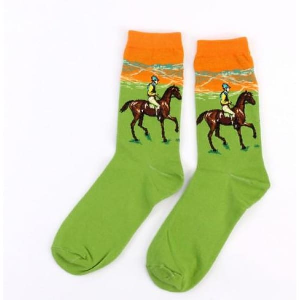 Famous Artwork Socks - Race Horse - Havana86