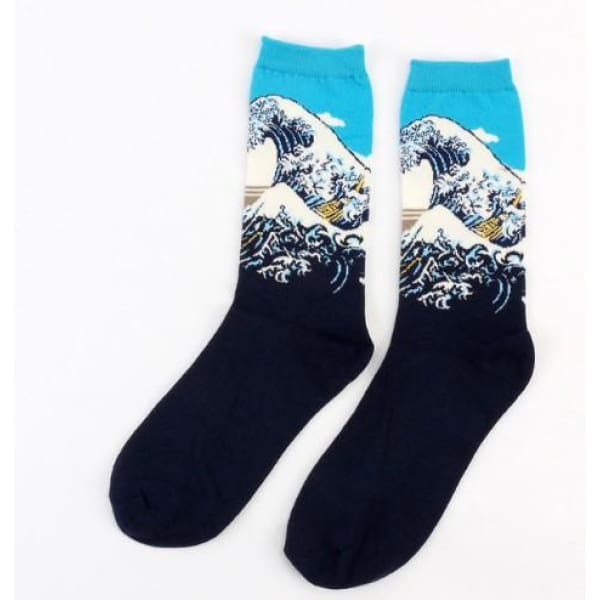 Famous Artwork Socks - The Great Wave Off Kanagawa - Havana86