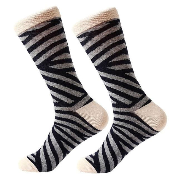 Funky Crew Socks - Black Grey Stripe - Havana86