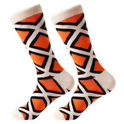 Funky Crew Socks - Orange Black Diamonds - Havana86