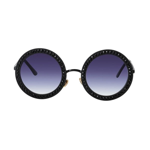 Luxury Retro Rhinestone Sunglasses - Black - Havana86