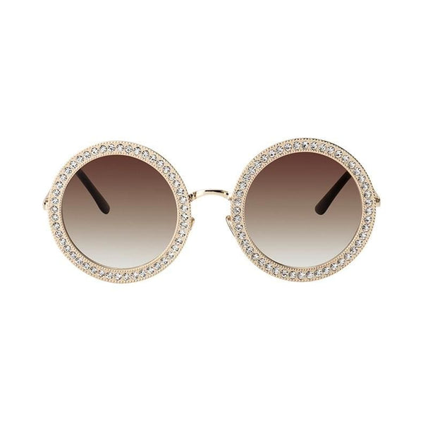 Luxury Retro Rhinestone Sunglasses - Gold/Brown - Havana86