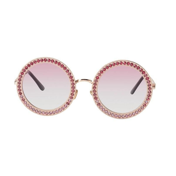 Luxury Retro Rhinestone Sunglasses - Gold/Pink - Havana86
