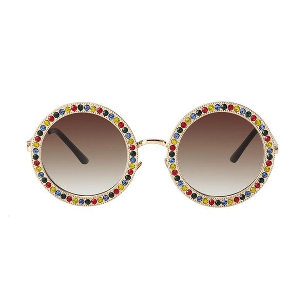 Luxury Retro Rhinestone Sunglasses - Multicolor/Brown - Havana86