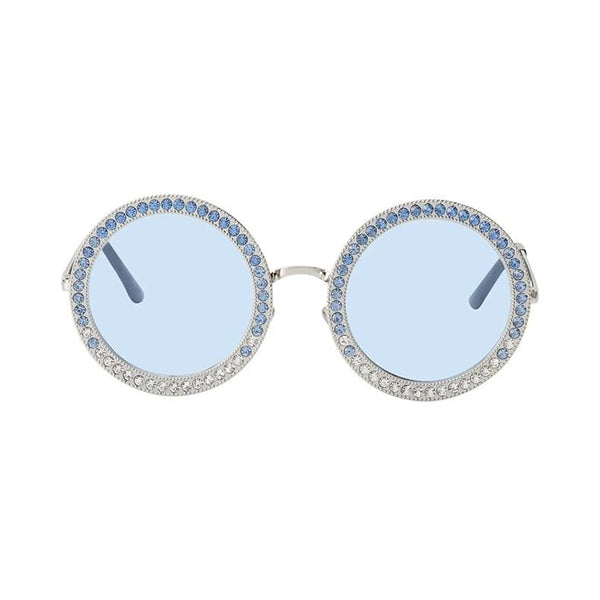 Luxury Retro Rhinestone Sunglasses - Silver/Blue - Havana86