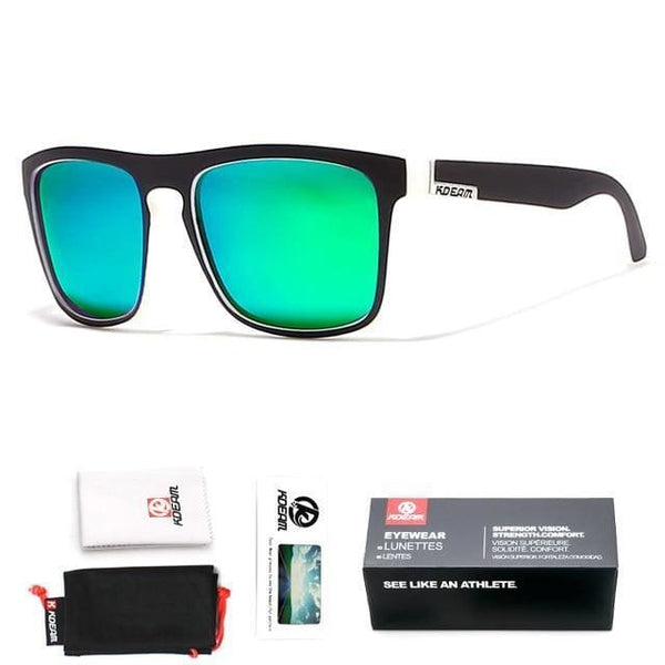 Polarised Wayfarer Sunglasses - Aqua Green - Havana86