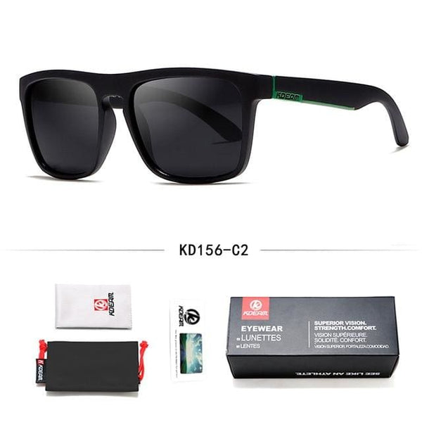 Polarised Wayfarer Sunglasses - Black & Green - Havana86