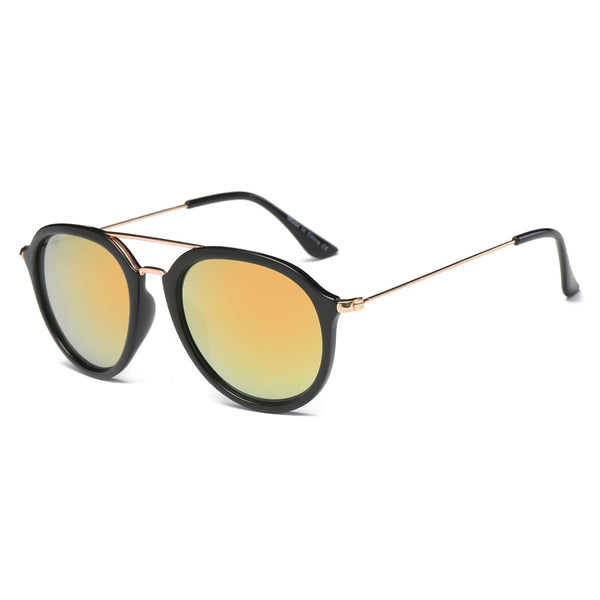 Retro Aviator Style Sunglasses - Burnt Orange - Havana86