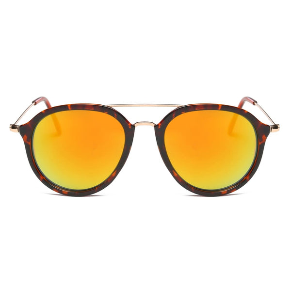 Retro Aviator Style Sunglasses - Sunset - Havana86