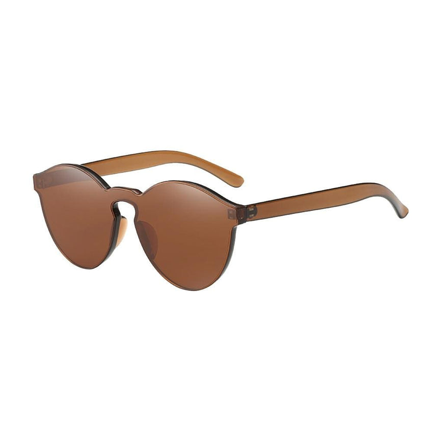 Retro Candy Colored Cat Eye Sunglasses - Brown - Havana86
