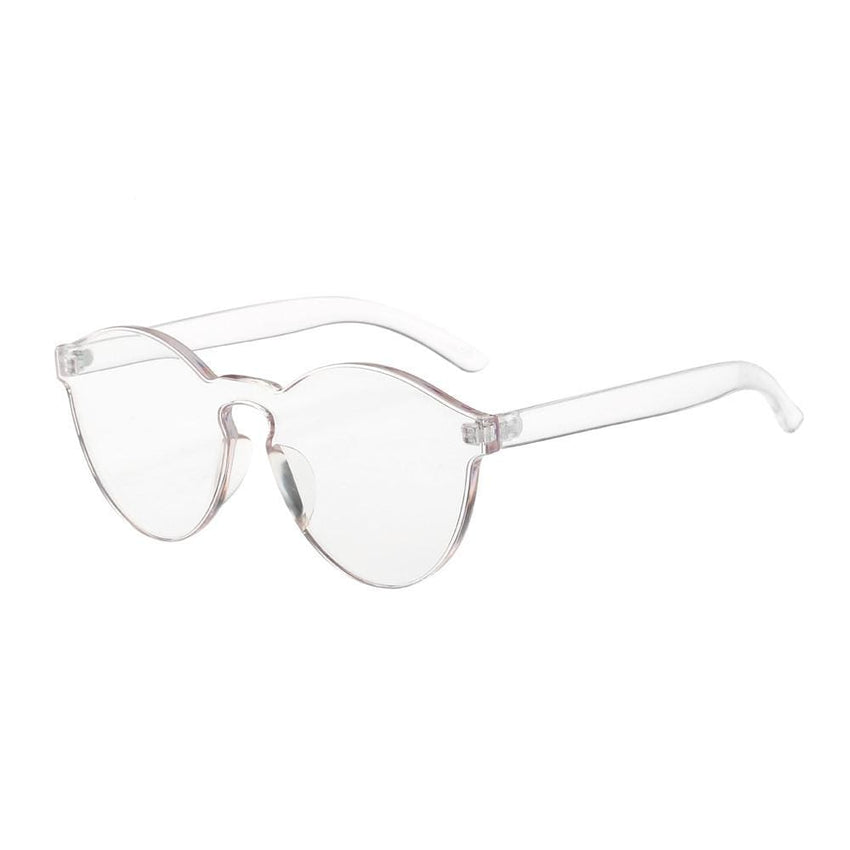 Retro Candy Colored Cat Eye Sunglasses - Clear - Havana86