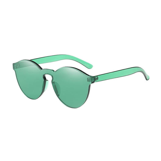 Retro Candy Colored Cat Eye Sunglasses - Green - Havana86