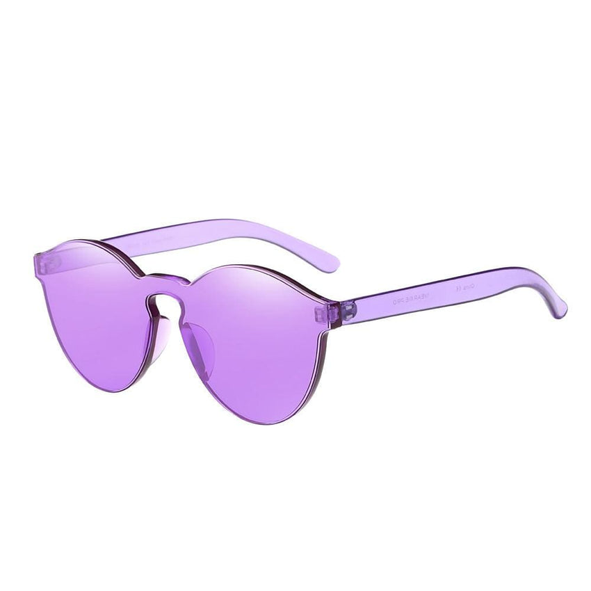 Retro Candy Colored Cat Eye Sunglasses - Purple - Havana86