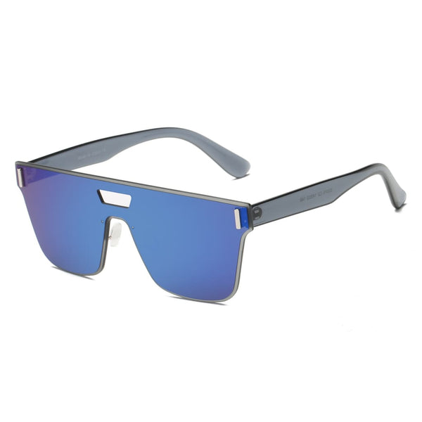 Retro Flat Lens Oversized Sunglasses - Blue - Havana86