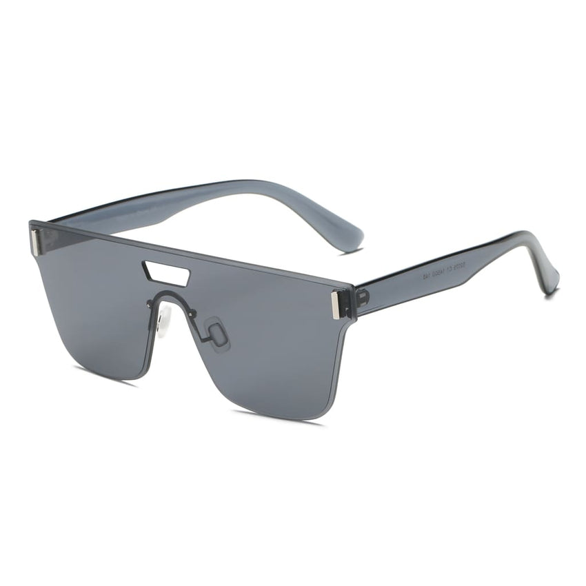 Retro Flat Lens Oversized Sunglasses - Grey - Havana86