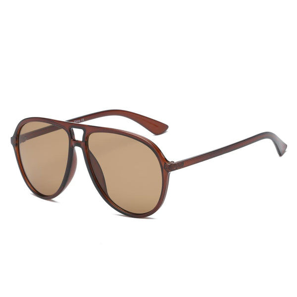 Retro Oversized Aviator Sunglasses - Brown - Havana86