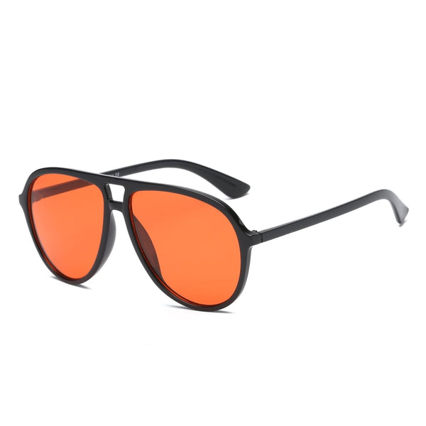 Retro Oversized Aviator Sunglasses - Orange - Havana86