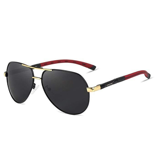 Retro Polarised Aviator Sunglasses - Black/Gold - Havana86