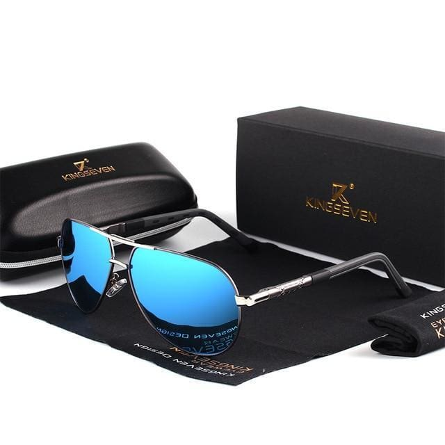 Retro Polarised Aviator Sunglasses - Blue/Gray - Havana86