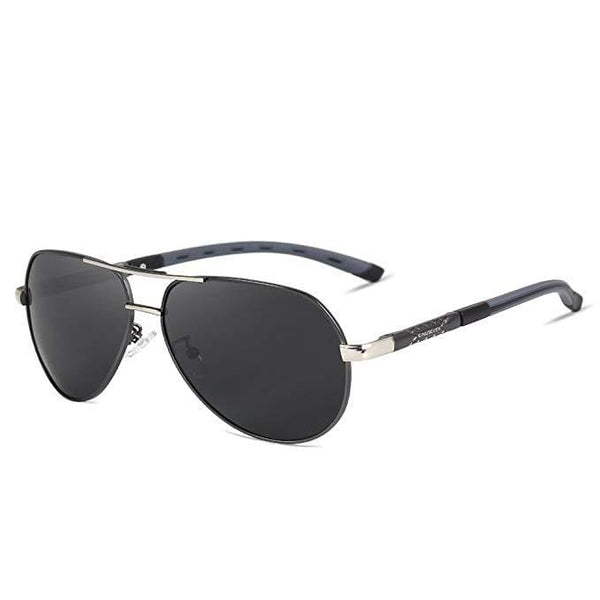 Retro Polarised Aviator Sunglasses - Gun Metal Gray - Havana86