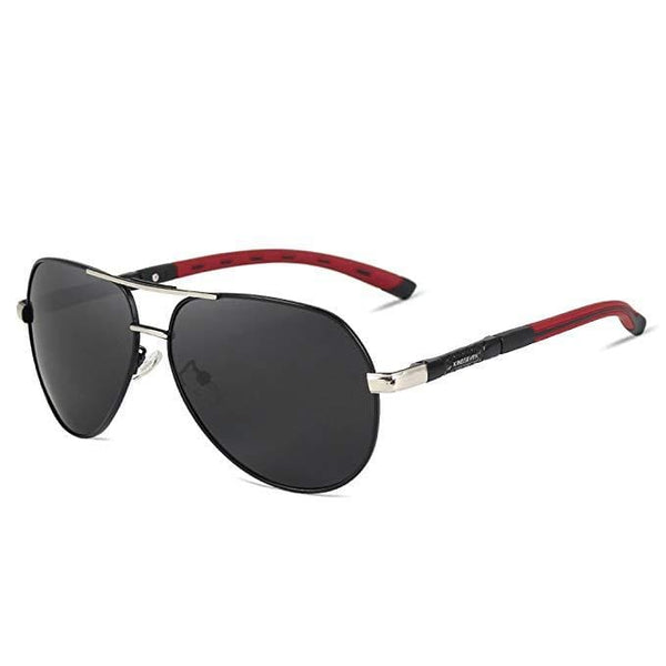 Retro Polarised Aviator Sunglasses - Silver/Gray - Havana86