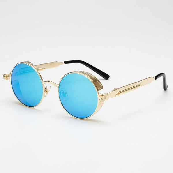 Retro Round Sunglasses - Blue/Gold - Havana86