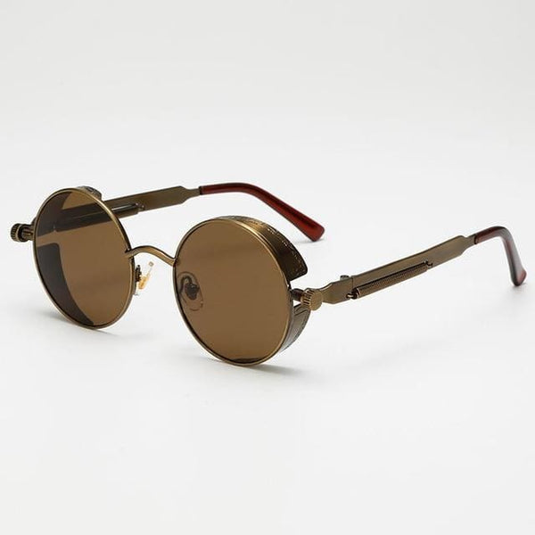 Retro Round Sunglasses - Brown/Bronze - Havana86