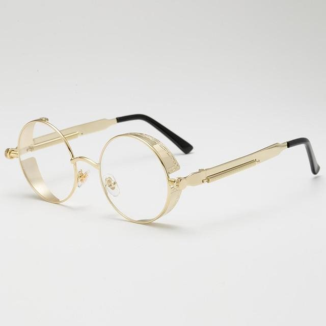 Retro Round Sunglasses - Gold/Clear - Havana86