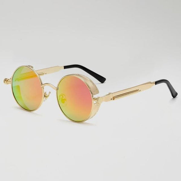 Retro Round Sunglasses - Gold/Sunset - Havana86