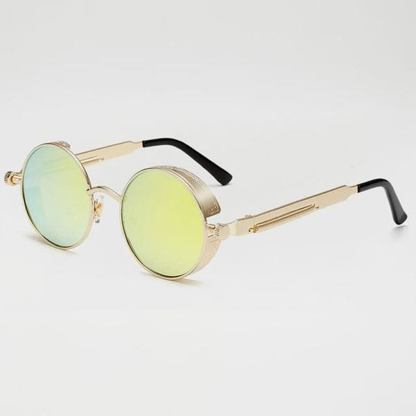 Retro Round Sunglasses - Gold/Yellow - Havana86