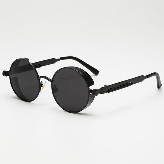 Retro Round Sunglasses - Jet Black - Havana86