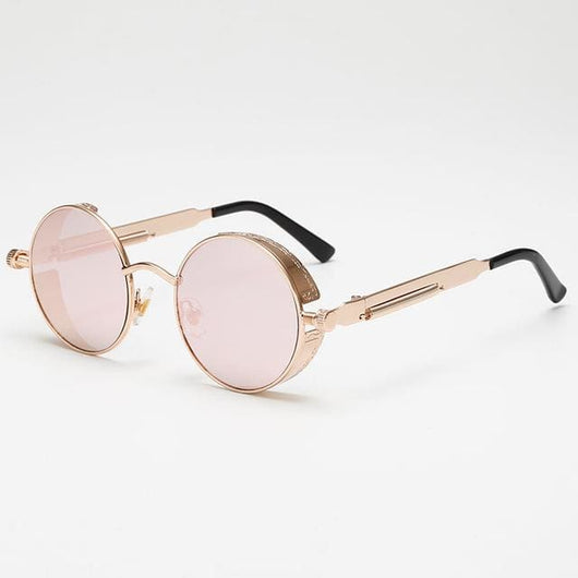 Retro Round Sunglasses - Pink/Gold - Havana86