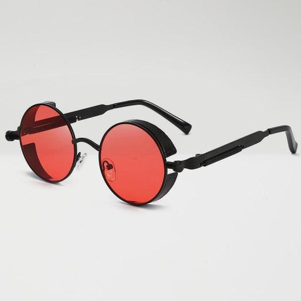 Retro Round Sunglasses - Red/Black - Havana86