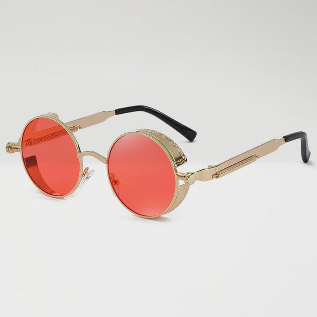 Retro Round Sunglasses - Red/Gold - Havana86